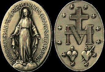 No verso da chamada Medalha Milagrosa, os Corações de Jesus e de Maria